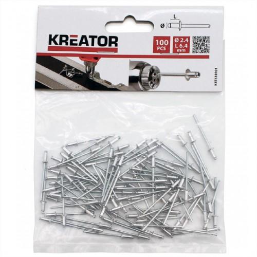 Nýty trhací KRT618101, 2,4 x 6,4mm, 100 kusů