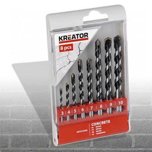 Sada vrtáků do betonu 3 - 10mm,Kreator KRT012402, 8 kusů