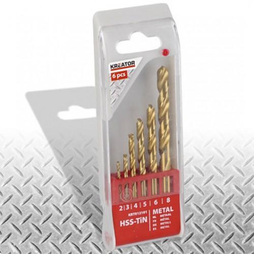Sada vrtáků HSS do kovu TIN, 2 - 8mm, Kreator KRT012101, 6 kusů