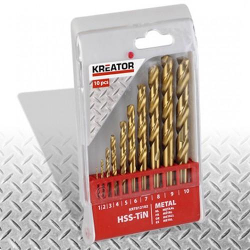 Sada HSS vrtáků do kovu TIN, 1 - 10mm, Kreator KRT012102, 10 kusů