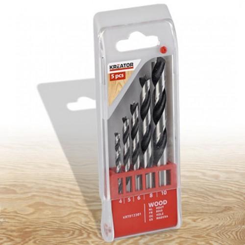 Sada vrtáků do dřeva 4 - 10mm, Kreator KRT012301, 5 kusů