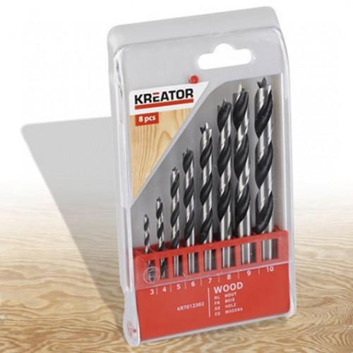 Sada vrtáků do dřeva 3 - 10mm, Kreator KRT012302, 8 kusů