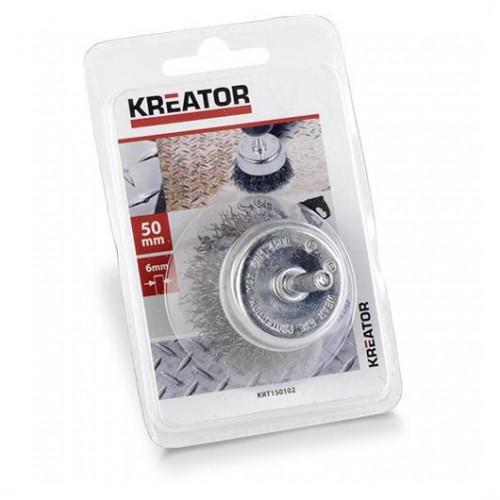 Brusný kartáč ocelový na stopce Kreator KRT150102, průměr 50mm