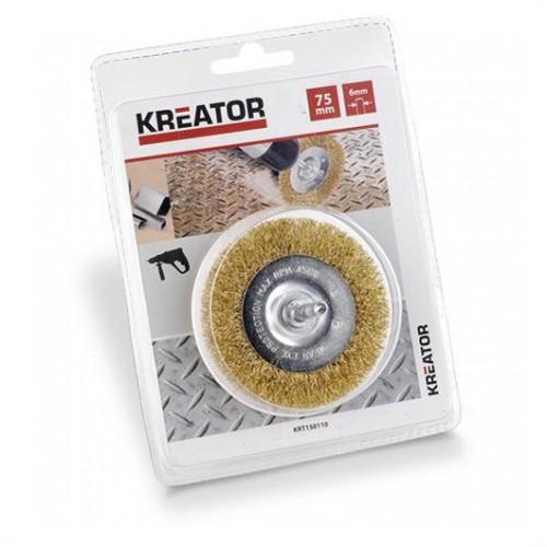 Brusný kartáč měděný na stopce Kreator KRT150110, průměr 75mm