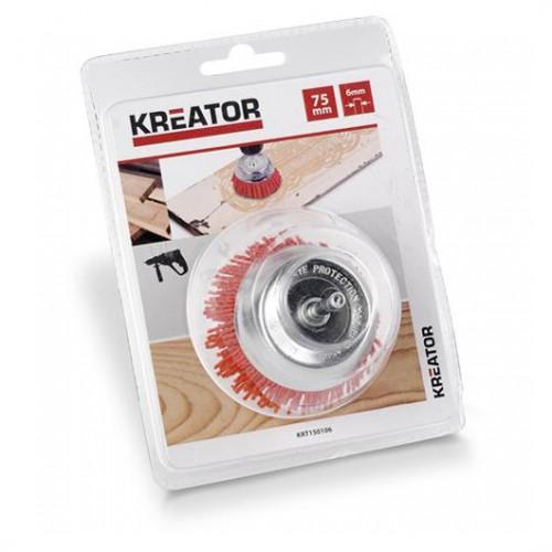 Brusný kartáč nylonový na stopce Kreator KRT150106, průměr 75mm