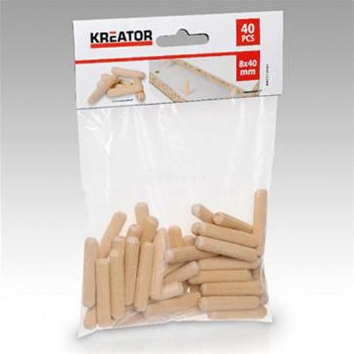 Truhlářské kolíčky 8 x 40mm Kreator, KRT110102, 40 kusů
