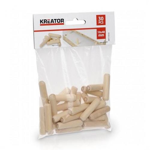 Truhlářské kolíčky 10 x 40mm Kreator, KRT110103, 30 kusů