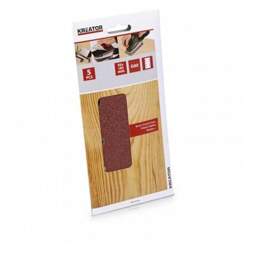 Sada brusných papírů na dřevo do vibračních brusek, KRT201003, G40, 5 kusů