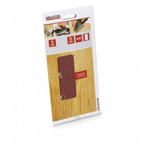 Sada brusných papírů na dřevo 93 x 187mm, KRT201503, G40, 5 kusů