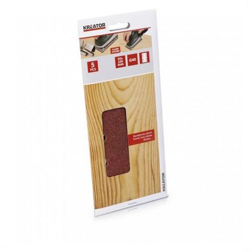 Sada brusných papírů na dřevo 93 x 230mm, KRT202003, G40, 5 kusů